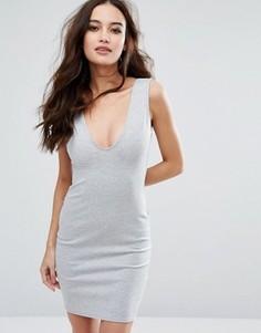 Облегающее платье с глубоким вырезом Missguided - Серый