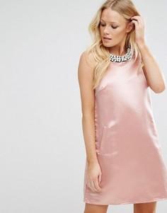 Трапециевидное платье мини с отделкой True Decadence - Розовый
