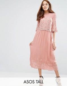 Платье миди с вышивкой ASOS TALL PREMIUM - Розовый