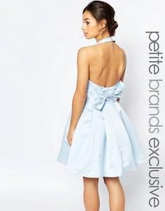 Платье для выпускного с бантом на спинке True Decadence Petite - Синий