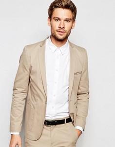 Супероблегающий хлопковый пиджак Vito - Бежевый