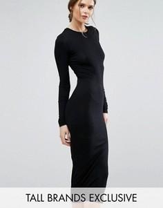 Облегающее платье миди с длинными рукавами TTYA - Черный Taller Than Your Average