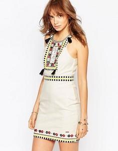 Парусиновое платье с отделкой бисером и кисточками Pepe Jeans - Мульти