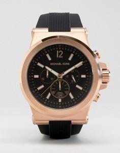Oversize-часы с хронографом и силиконовым ремешком Michael Kors MK8184 Dylan - Черный