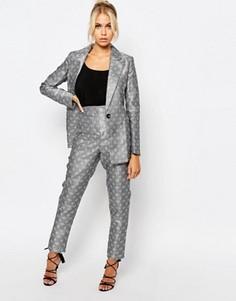 Брюки с плиточным принтом Fashion Union Co-Ord - Серый