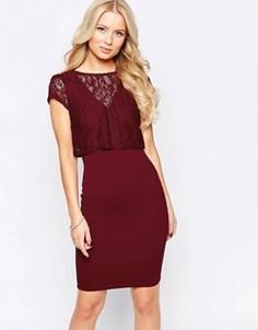 Платье с кружевной накладкой на топе Jessica Wright Sushita - Красный