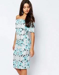 Платье-футляр миди с открытыми плечами и серым/синим цветочным принтом ASOS - Мульти