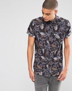 Классическая рубашка с короткими рукавами и цветочным принтом ASOS - Черный