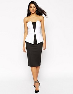 Черно-белое платье миди с баской ASOS Premium - Мульти
