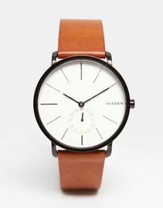 Наручные часы с кожаным коричневым ремешком Skagen Hagen SKW6216 - Коричневый