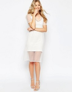 Платье миди с вышивкой ASOS - Кремовый