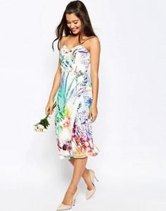 Короткое платье-футляр бандо с укороченным пиджаком ASOS WEDDING - Мульти