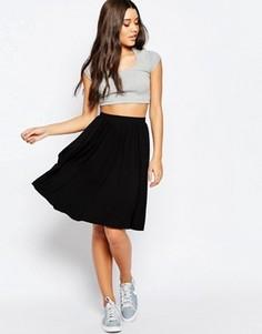 Расклешенная трикотажная юбка миди ASOS - Черный