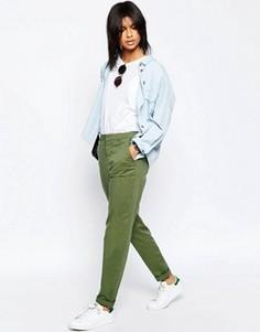 Брюки чиносы в стиле casual с отворотами на штанинах ASOS - Зеленый