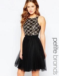 Платье для выпускного с декорированным лифом Little Mistress Petite - Черный