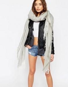 Легкий широкий шарф с шевронной отделкой ASOS - Серый
