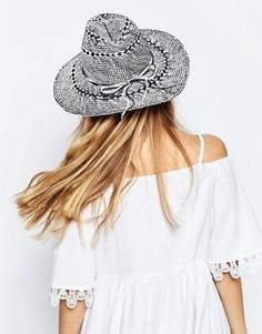 Cоломенная шляпа-федора с монохромным дизайном ASOS - Мульти