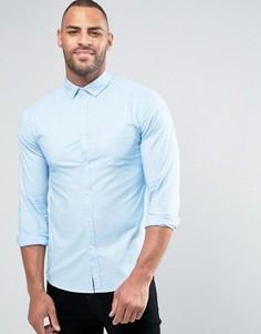 Голубая оксфордская рубашка скинни с длинными рукавами ASOS - Синий