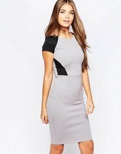 Платье миди с контрастными вставками City Goddess - Серый