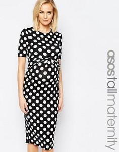 Облегающее платье для беременных с принтом в горошек и перекрещивающимися вставками на лифе ASOS Maternity TALL - Мульти