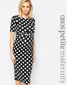Облегающее платье для беременных с принтом в горошек и перекрещивающимися вставками на лифе ASOS Maternity PETITE - Мульти