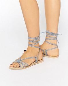 Кожаные сандалии с высокой завязкой ASOS FEELING - Синий