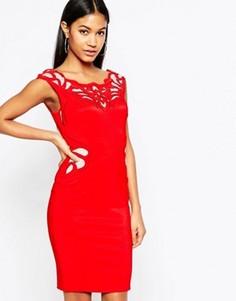 Платье-футляр с аппликацией из вощеного кружева Lipsy - Красный