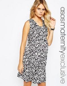 Тканое платье для беременных с леопардовым принтом и завязкой спереди ASOS Maternity - Мульти