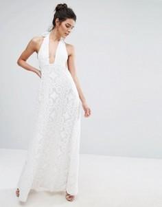 Кружевное платье макси для выпускного с халтером True Decadence - Белый