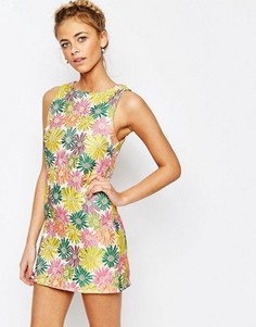 Цельнокройное платье мини с цветочным жаккардовым принтом True Decadence - Мульти