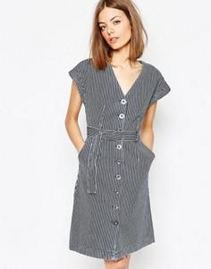 Джинсовое платье в полоску с поясом M.i.h. - Мульти MiH Jeans