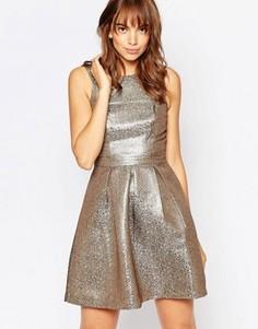 Короткое приталенное платье из блестящей ткани Vero Moda - Серый