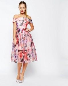 Платье миди для выпускного из органзы с открытыми плечами ASOS SALON - Розовый