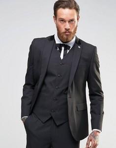 Черный пиджак зауженного кроя ASOS - Черный