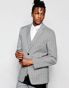 Зауженный пиджак в клетку Prince Of Wales Rogues Of London - Серый