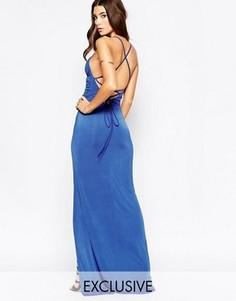 Платье макси с запахом и бретелями сзади NaaNaa - Синий