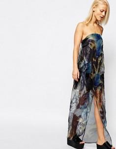 Прозрачное платье макси без бретелей с пальмовым принтом Suboo - Мульти