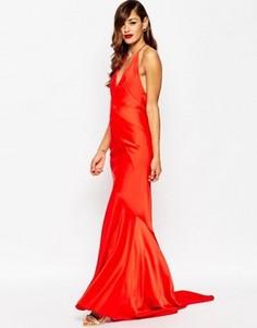 Платье макси с глубоким вырезом и шлейфом ASOS RED CARPET - Красный