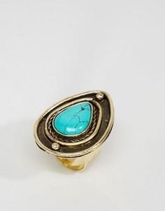 Кольцо с камнем каплевидной формы ASOS - Синий