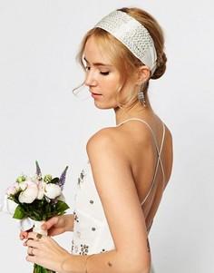 Повязка на голову с отделкой из бисера ASOS WEDDING - Серебряный