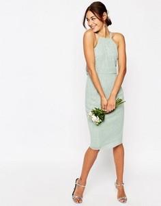 Платье-футляр миди с бретельками, отделкой и драпировкой на спине ASOS WEDDING - Зеленый