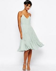 Декорированное платье миди на бретельках ASOS WEDDING - Зеленый