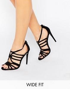 Решетчатые сандалии на каблуке для широкой стопы ASOS HOME AND AWAY - Черный
