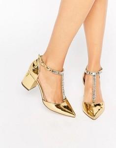 Туфли на каблуке с заостренным носком и отделкой ASOS SANTIAGO - Золотой
