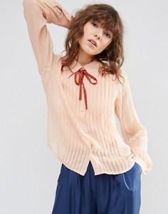 Блузка с защипами и завязками ASOS - Розовый