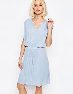 Драпированное платье с присборенной талией Paisie - Синий