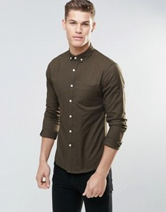 Оксфордская рубашка скинни цвета хаки ASOS - Зеленый