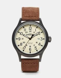 Часы с замшевым коричневым ремешком Timex Originals T49963 - Коричневый