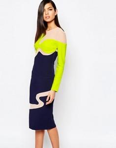 Платье-футляр в стиле колор блок с сетчатыми вставками The 8th Sign - Мульти