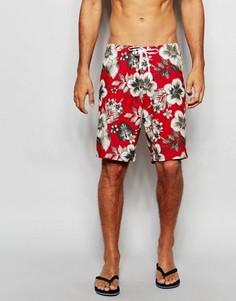 Пляжные шорты с цветочным принтом Abercrombie & Fitch - Красный